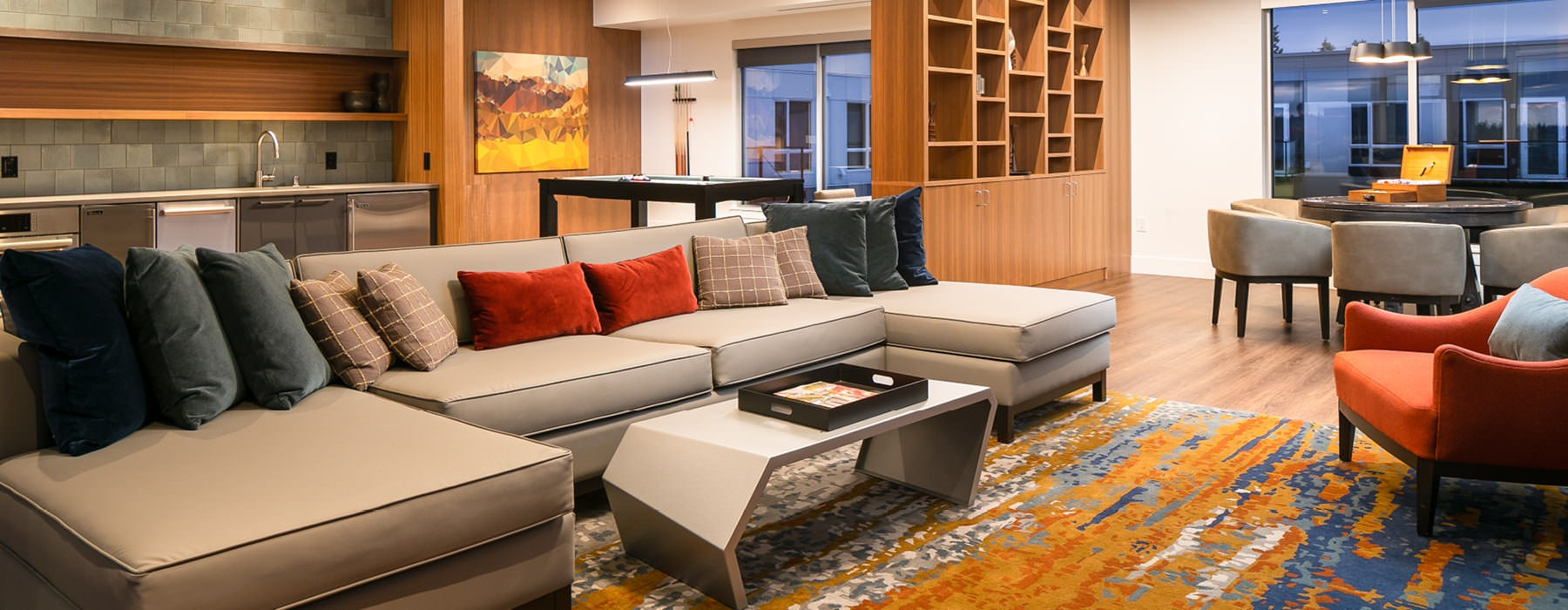 clubroom social areas with ample lighting